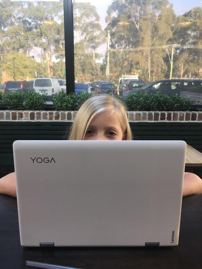 Lola KH working on her blog